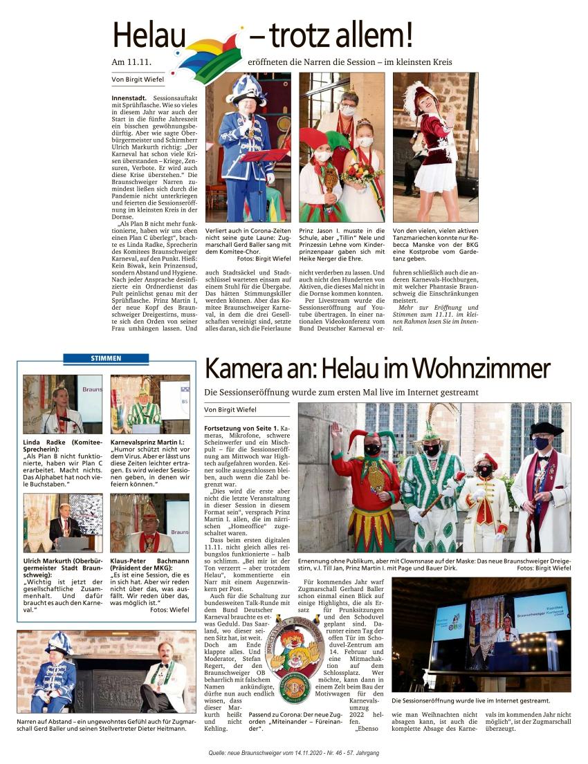Pressebericht Sessionseröffnung neue Braunschweiger
